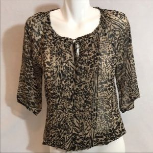 Express Animal Print Sheer Top Blouse Size Small